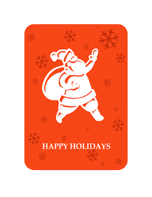 Business holiday greeting card with Santa, Word