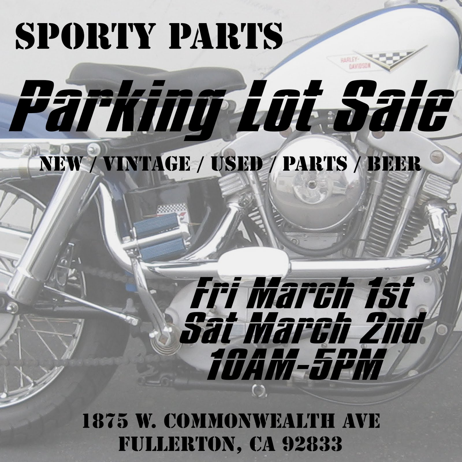 Sporty Parts Parking Lot Sale