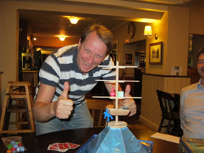 Riff Raff - Martin celebrates having hung his blue crew member of the hull of the ship. A joint win with me!