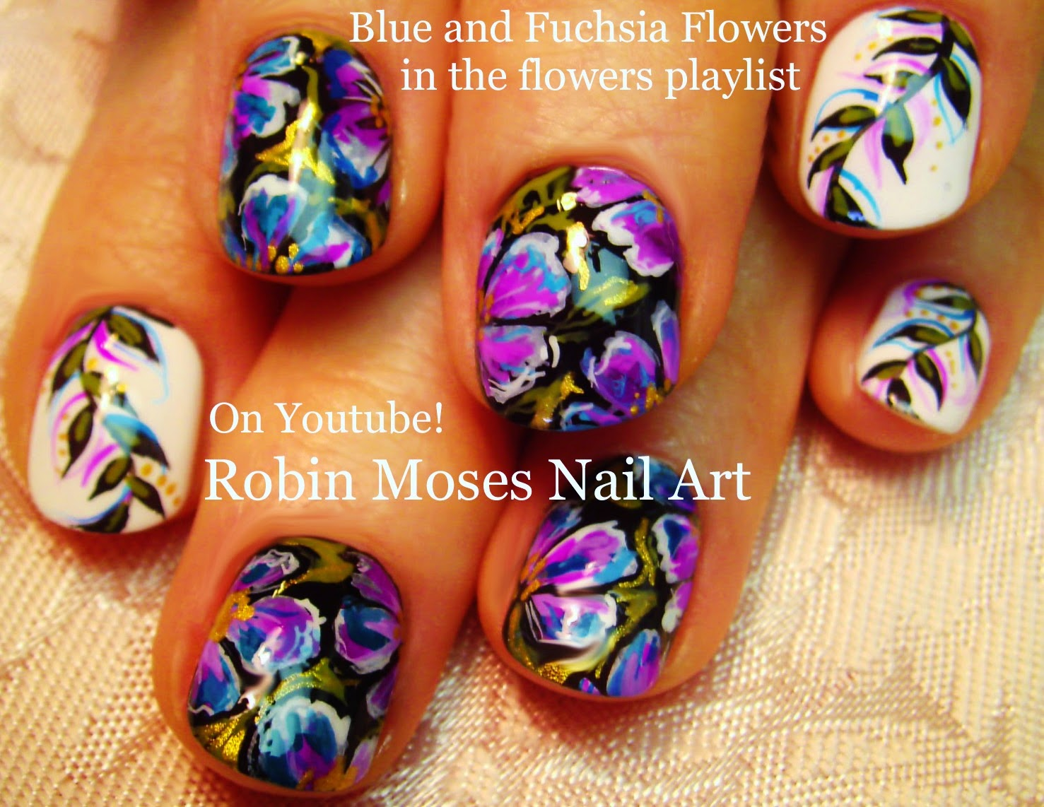 Nail Art By Robin Moses Flower Nails Black And White Flowers