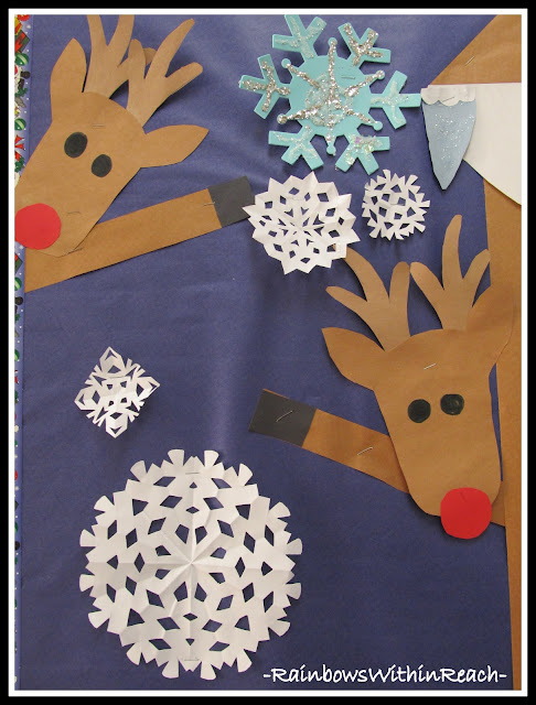 photo of: Reindeer and Snowflake Bulletin Board (Christmas Time Bulletin Board RoundUP via RainbowsWithinReach)