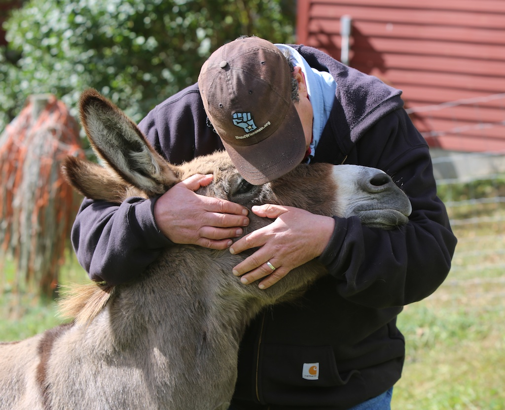 person kissing animals