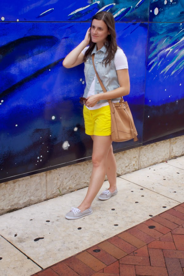 Vans, yellow shorts, white tee, Target vest, denim vest, Old Navy bucket bag