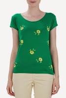 Tricou verde cu imprimeu floral galben T1022 (Ama Fashion)