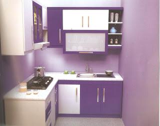 Dapur Minimalis Kecil Sederhana warna ungu