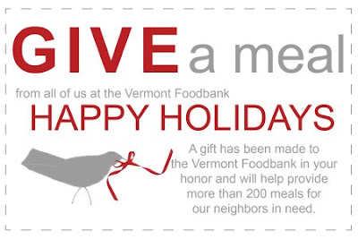 Vermont Foodbank card saying a gift has been made in your honor