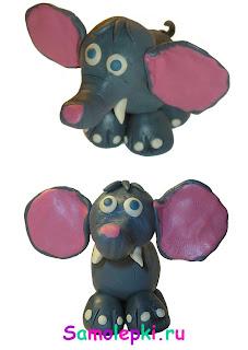лепка слона из пластилина