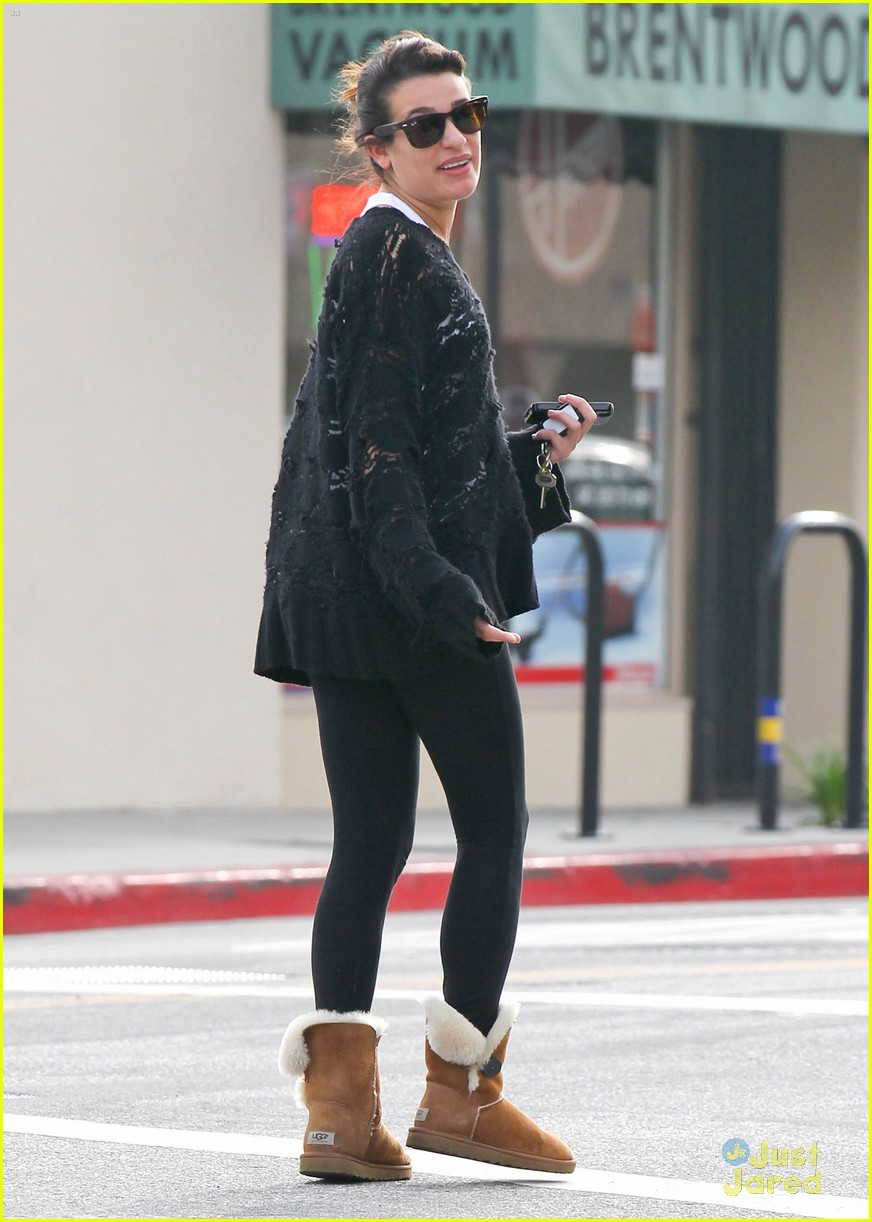 Lea Michele in Ugg Bailey Button chestnut