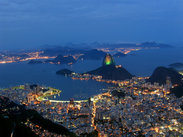 brasil, brazil, rio de janeiro, city at night, sea, view, hd, hq, panoramic view