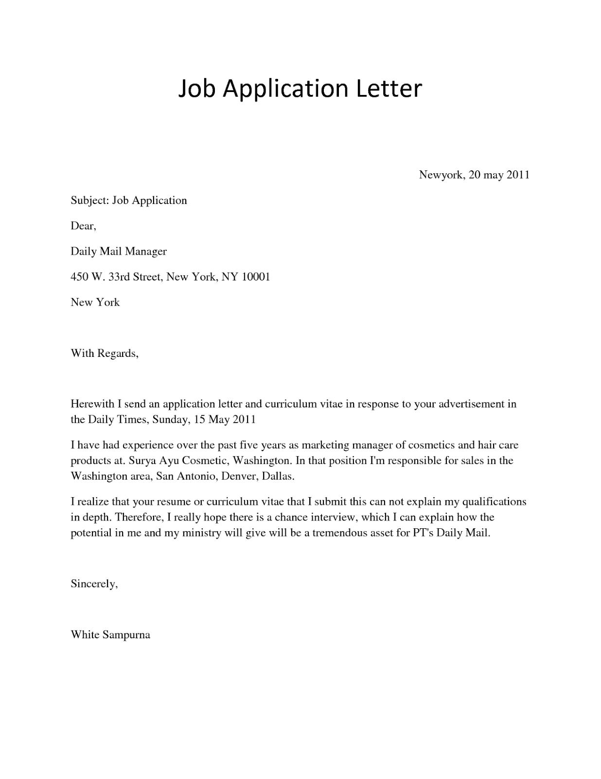 job application letter sample 9