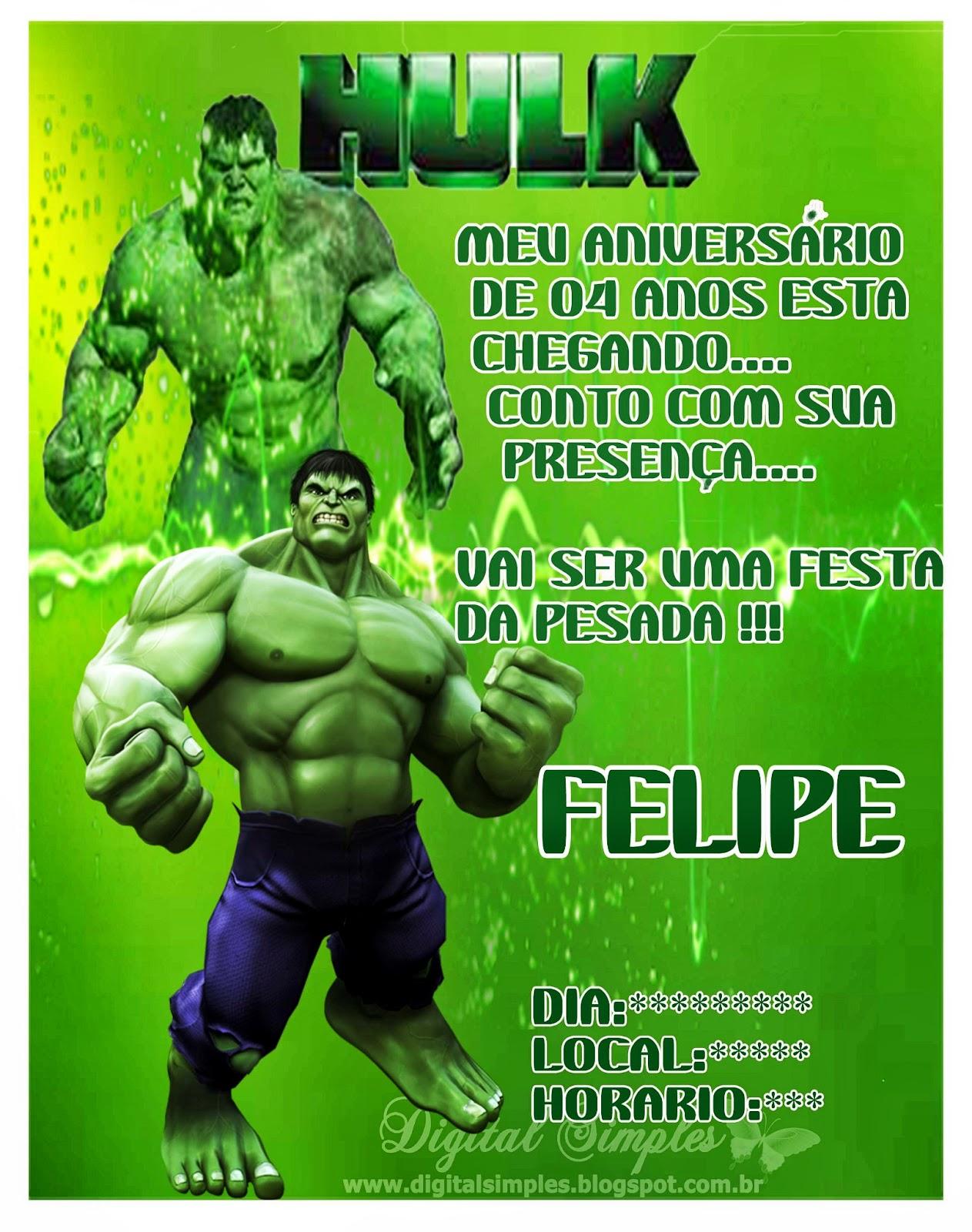 Incrivel Hulck Best convite infantil o incrivel hulk - convites digitais simples