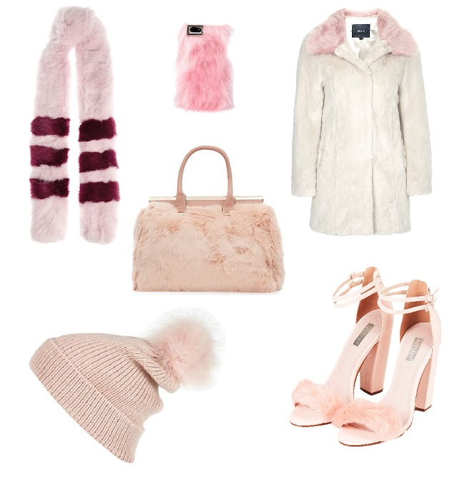 Pink faux fur fashion bag shoes hat scarf coat Unreal Fur