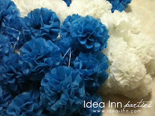 birthday decoration ideas paper pom pom blue and white