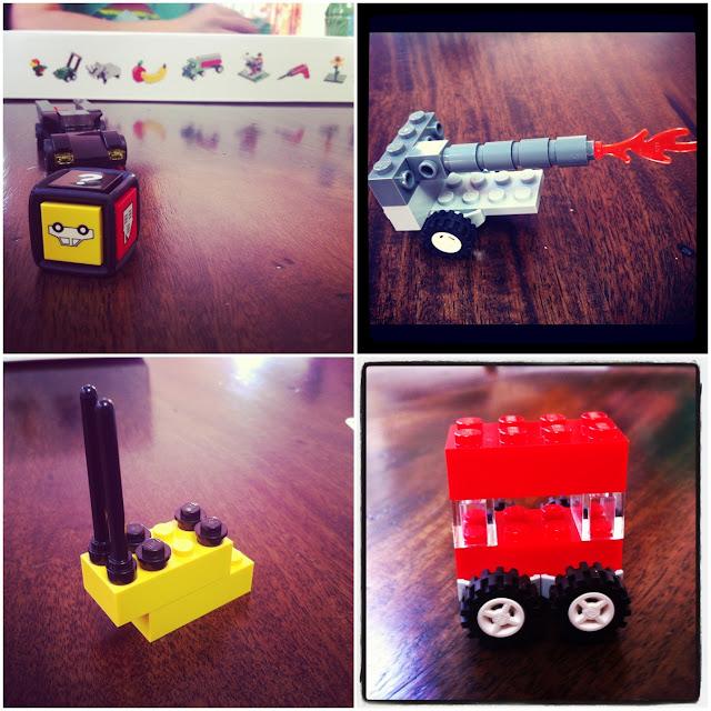 LEGO Creationary cannon, bumblebee, double decker bus
