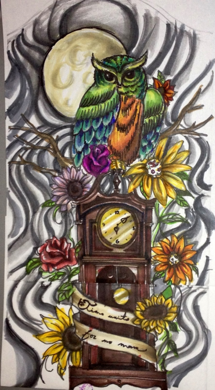 Time Waits For no Man Drawing Tattoo Design Time Waits For