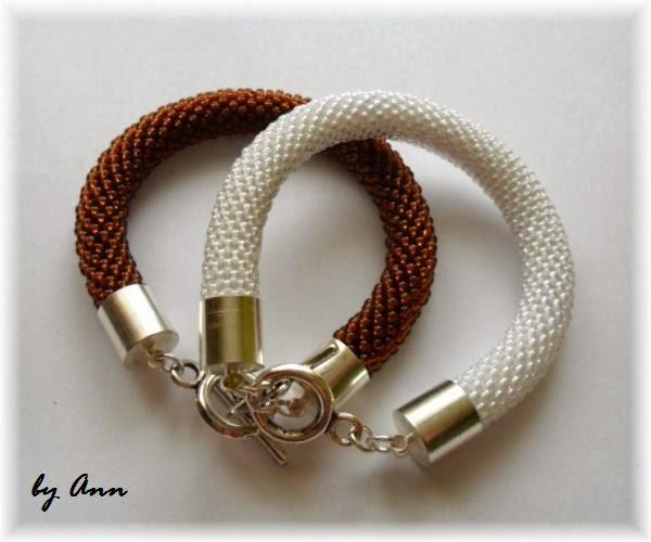 węże koralikowe bransoletka biel i brąz