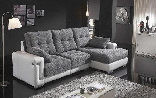 Mejor ventamuebles sof chaise longue online sofas for Sofa gris y blanco