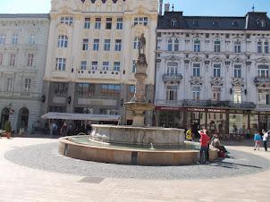 Bratislava Old Town Square Centre:- Fountain.