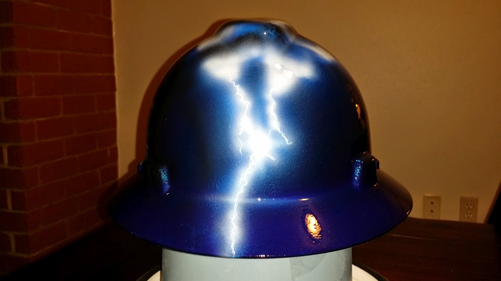 Custom hard hat with cool lightning design.