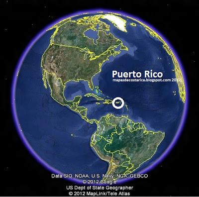 Mapa de Puerto Rico en El Mundo, Google Earth