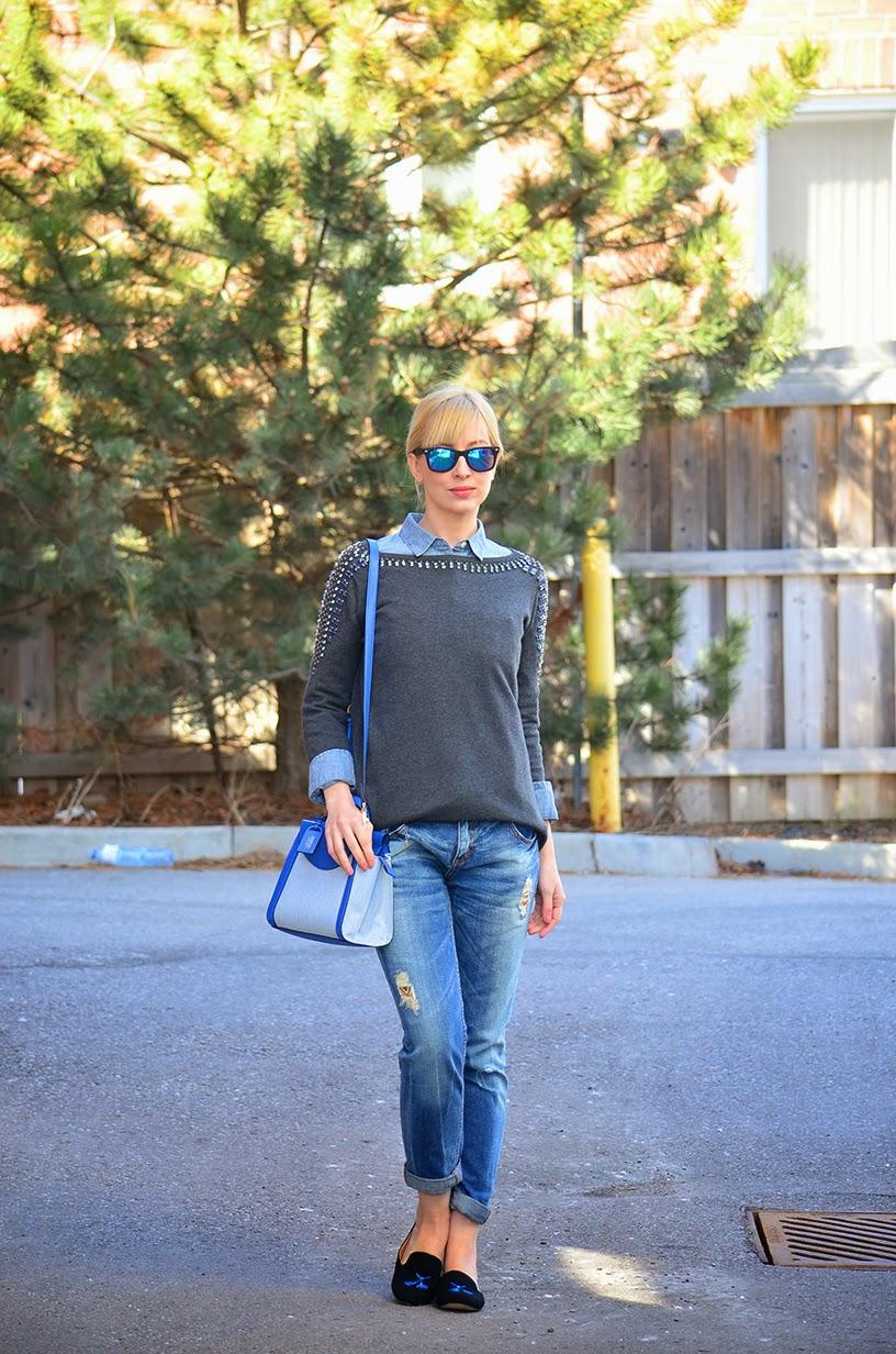 Style, OOTD, denim, Denim style, boyfriend jeans, Kate Spade Saturday, J. Crew style, j. Crew, J. Crew factory, asos, canadian tuxedo, denim style, denim shirt style, boyfriend jeans style