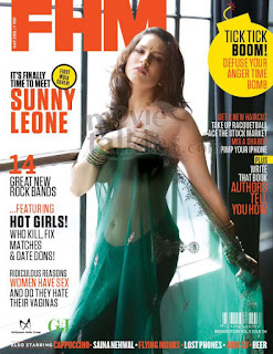 Sunny Leone in Green Saree On FHM Cover Page 2012