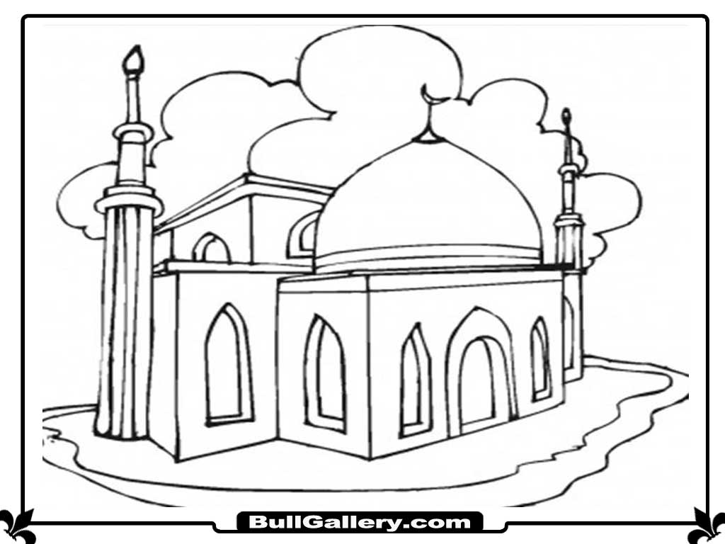 Kids Masjid Coloring Page