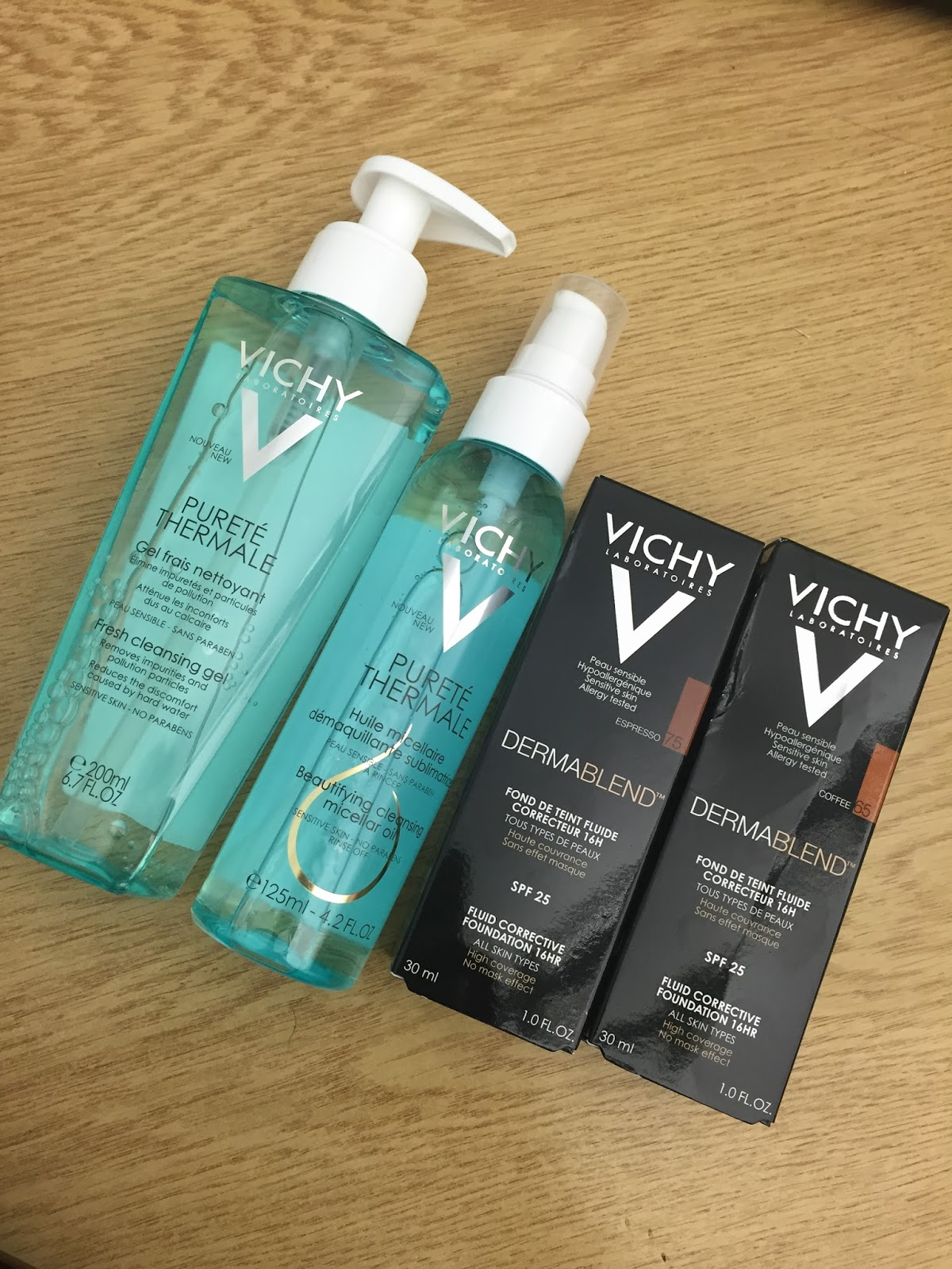 Vichy Dermablend Fluid Corrective Foundation Coffee Espresso Vichy Purete Thermale Beautifying Cleansing Micellar Oil Purete Thermale Fresh Cleansing Gel Review WoC nataliekayo discoveriesofself