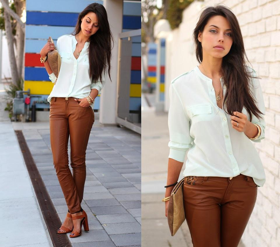 camisa, carteira de couro, calça de couro marrom