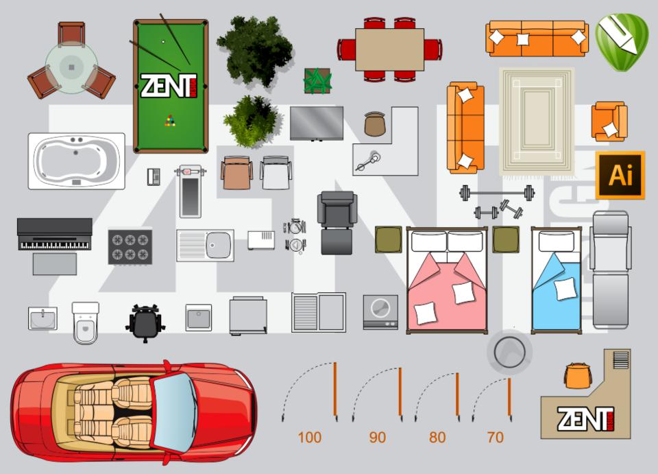 Furniture floor plan vector premium zent design 2d for Zona 5 mobilia no club download