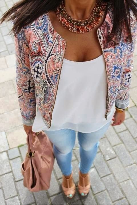 Printed Jacket With White Blouse And Denim Jeans