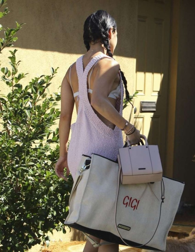 Vanessa Hudgens shows off lace bra in revealing dress