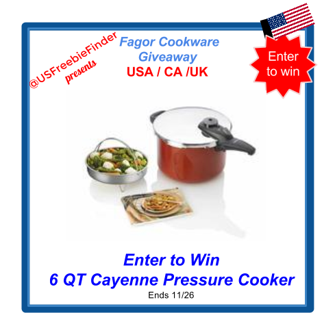 image 2014 USA Freebies -USA Giveaway Open to Canada and UK -  Enter to Win 6QT Cayenne Pressure Cooker Ends 11/26