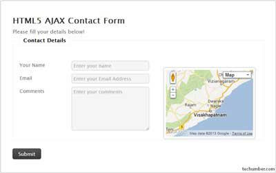 Cute HTML5 Ajax Contact Form With Google Maps