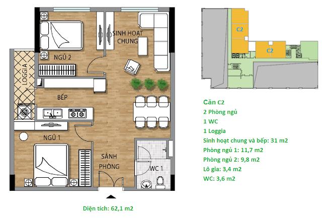 Căn hộ C2 tầng 2 chung cư Valencia Garden