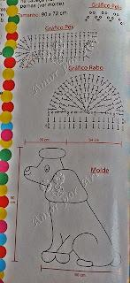 Gráfico do tapete de crochê em formato de cachorro