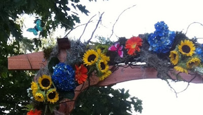 Bohemian wedding arch at Morris Arboretum by Stein Your Florist Co.