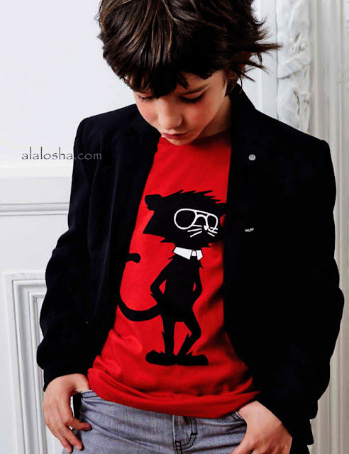 Boys Red 'Rock Chic' Logo Cat T-Shirt