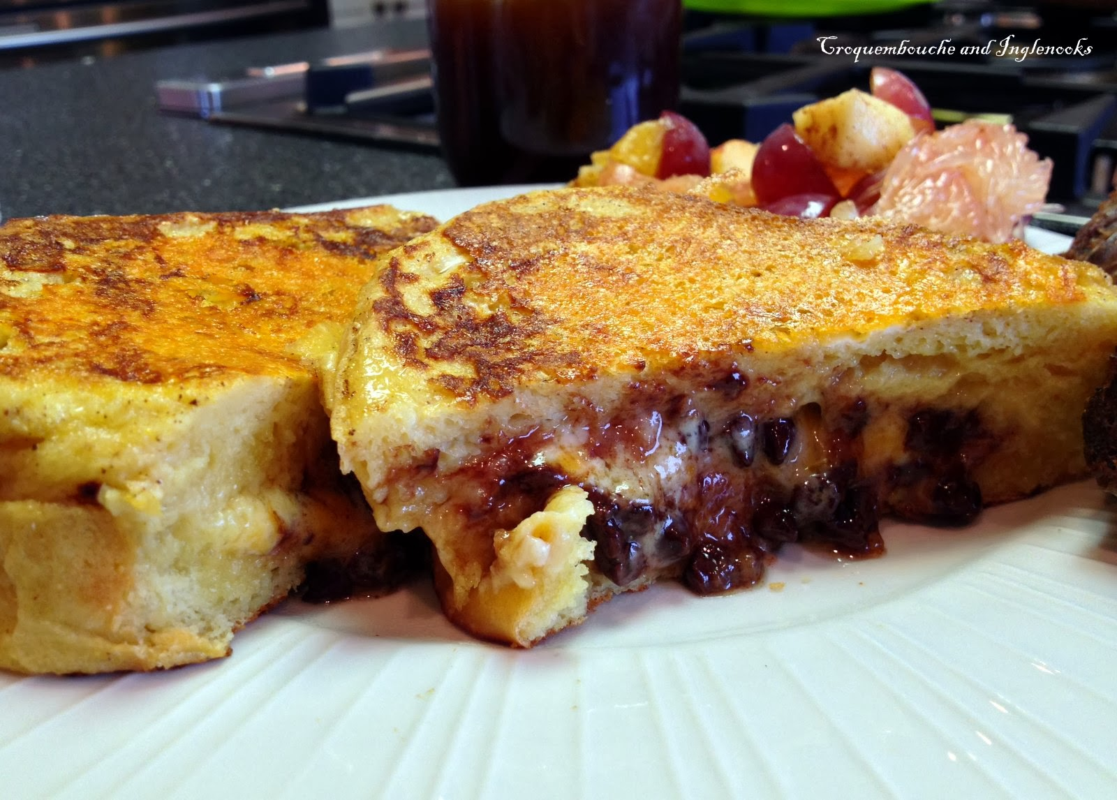 Chocolate Raspberry Cheesecake Stuffed French Toast - Dark Brown Hairs