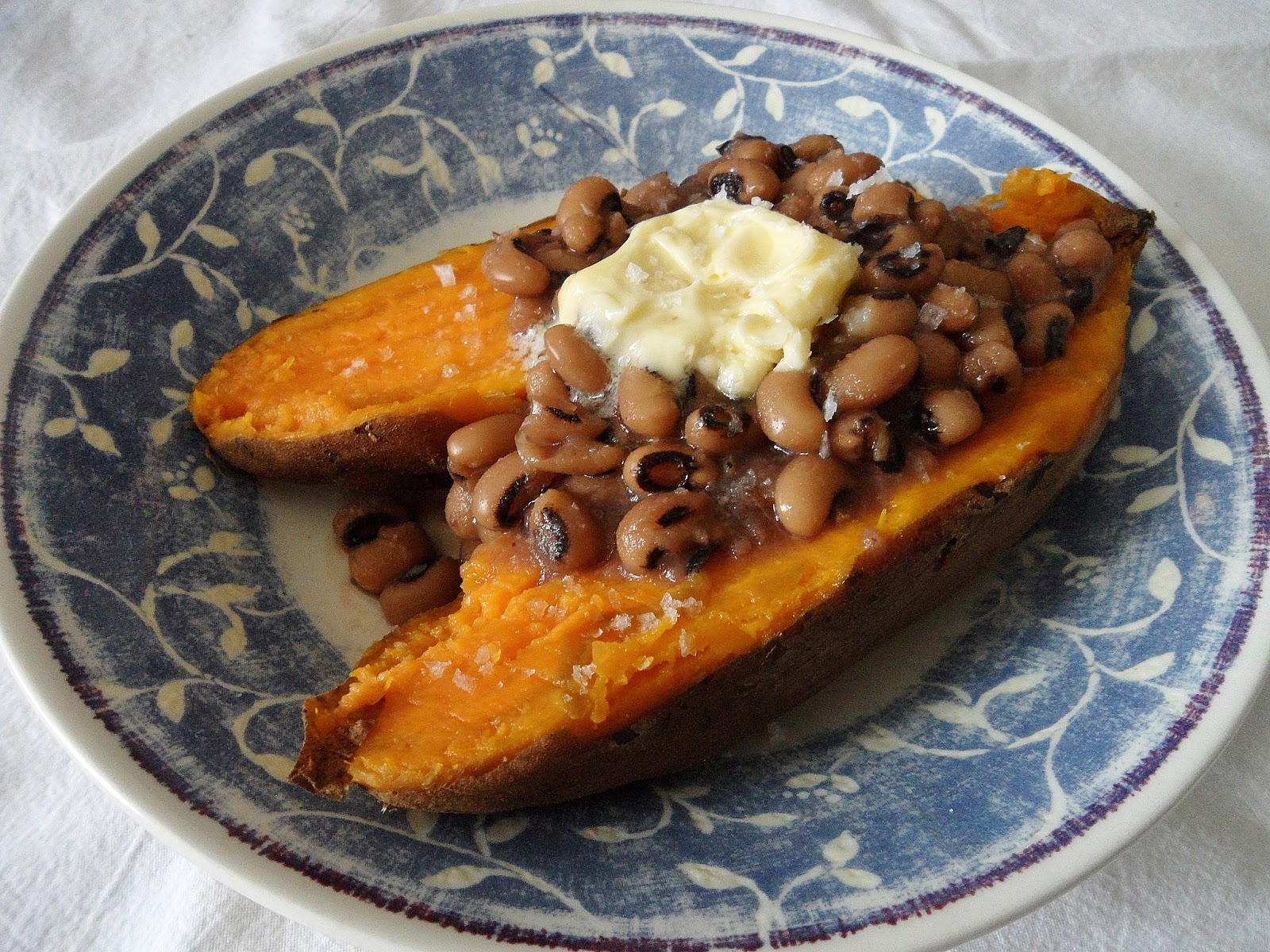 Sage Trifle: Baked Sweet Potatoes with Black-Eyed Peas