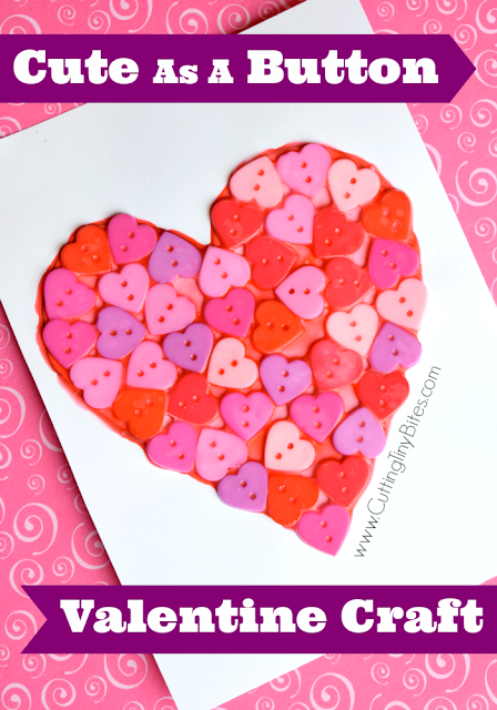 Cute As A Button Valentine Craft. Great fine motor work and spatial exercise for preschoolers, kindergarteners, and elementary students. Bright colorful buttons are an irresistable craft material!