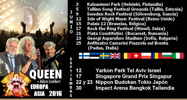 QUEEN + ADAM LAMBERT GIRA EUROPA 2016 ¡Y ASIA EN SEPTIEMBRE!