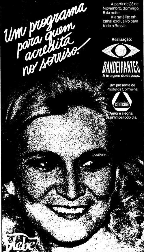 Propaganda do Programa da Hebe, época em que a apresentadora trabalhava na TV Bandeirantes, em 1982.