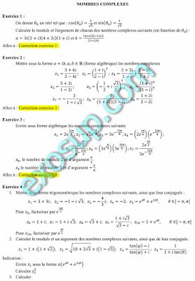 exercices corrigés sur les nombres complexes