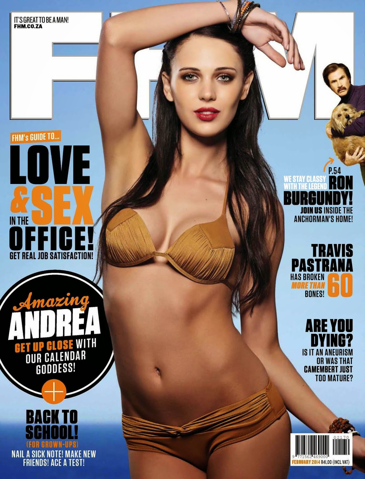Magazine cover : Andrea Scheepers Magazine Photoshoot Pics on FHM Magazine South Africa February 2014