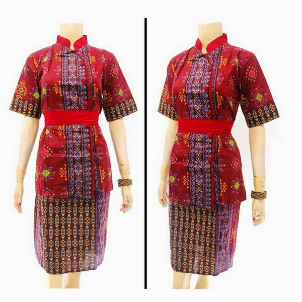 DB3808 Model Baju Dress Batik Modern Terbaru 2014