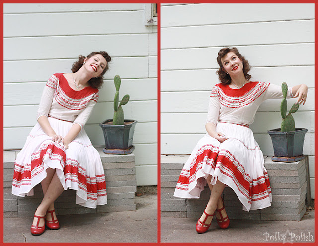 Vintage patio set by Arizona Creations with red and silver ric-rac
