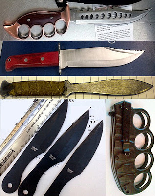(Top to Bottom / L-R) Knives Discovered at LGA, EWR, BUR, BNA, JFK