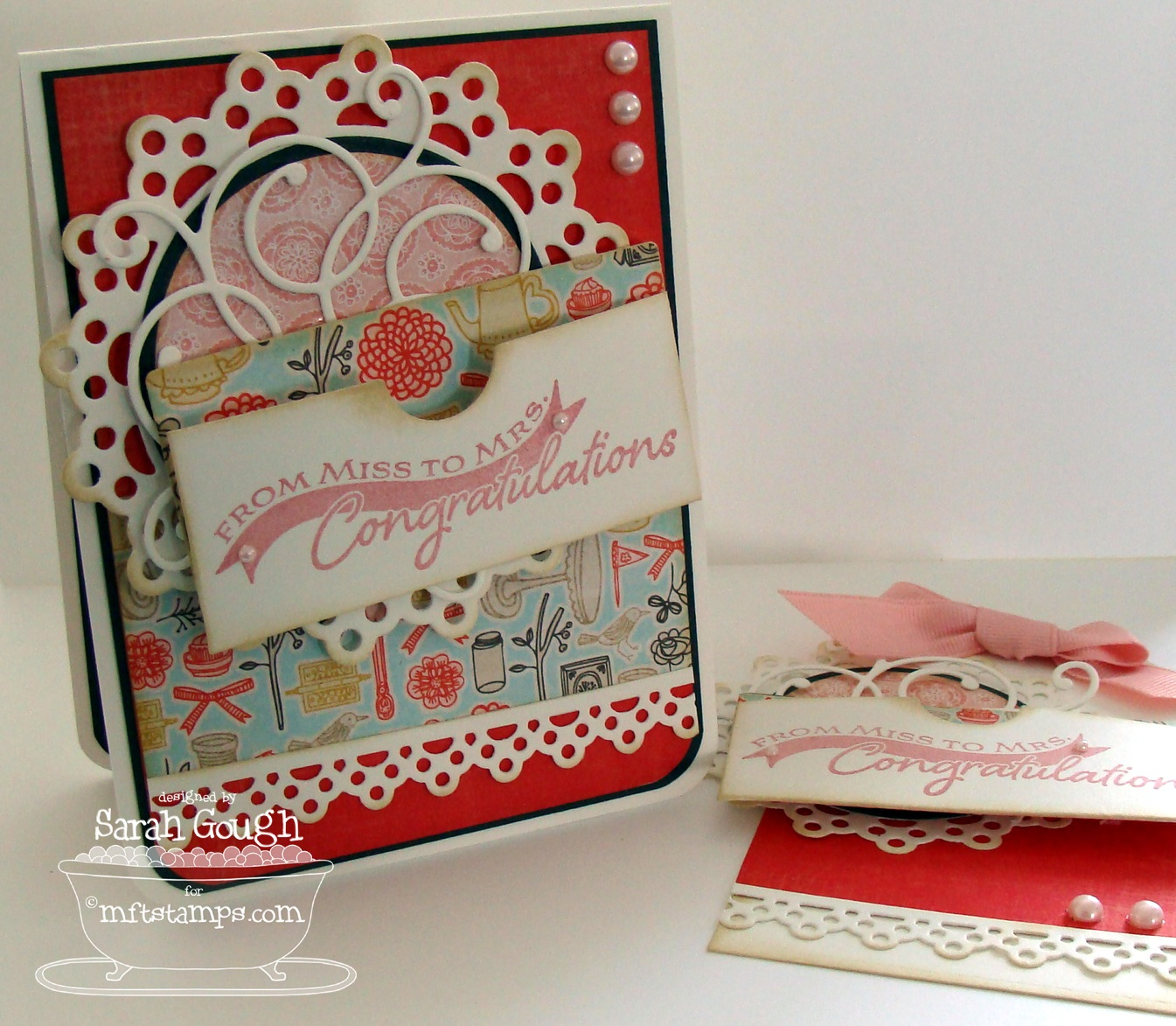 Thinking stamps gift card greetings ii my first card and tag are lovely and girly perfect for a bride to be m4hsunfo