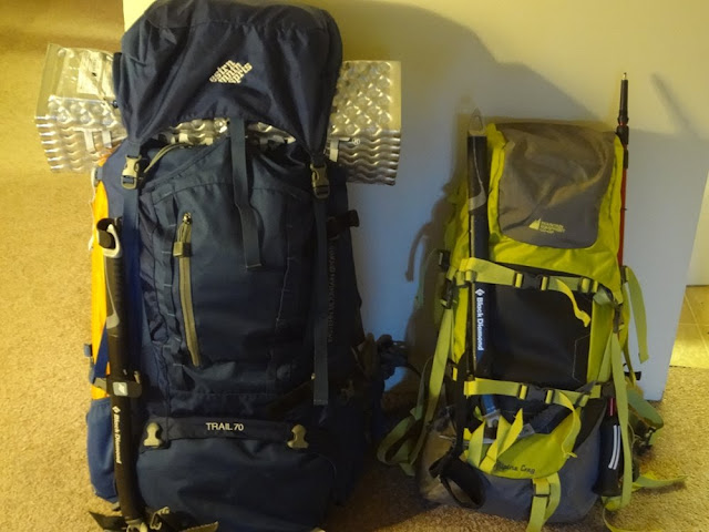 Two bags packed for camping/hiking